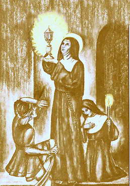 illustrations of Saint Clair with a lamp